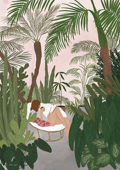 It's a jungle out there A3 print | Etsy Plant Illustration, Illustration Girl, Digital Illustration, 365 Kawaii, Plant Art, Botanical Art, Aesthetic Art, Cartoon Art, Art Paintings