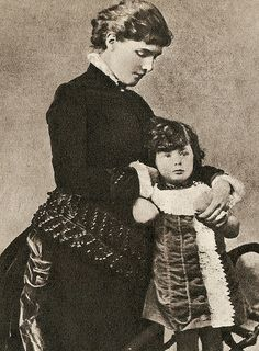 A Young Winston Churchill & his mother, Lady Randolph Churchill (Jenny Jerome), in 1876. Winston would be (roughly) 2 years old in this photo.