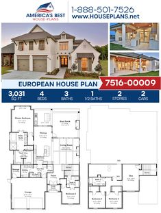 Crafted with impeccible European details, Plan 7516-00009 offers 3,031 sq. ft., 4 bedrooms, 3.5 bathrooms, split bedrooms, an open floor plan, and a mudroom. #european #architecture #houseplans #housedesign #homedesign #homedesigns #architecturalplans #newconstruction #floorplans #dreamhome #dreamhouseplans #abhouseplans #besthouseplans #newhome #newhouse #homesweethome #buildingahome #buildahome #residentialplans #residentialhome European Plan, European House Plans, Best House Plans, Dream House Plans, Building Plans, Building A House, Attic Storage, Building Materials, Open Floor