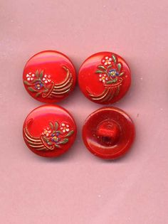 Set Of Four Vintage Glass Buttons Red With by VintageVendor, $8.00