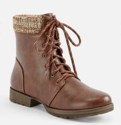 JustFab Nyaling Sweater Cuff Lace-up Boot   color   Brown   size   7 4b8201386