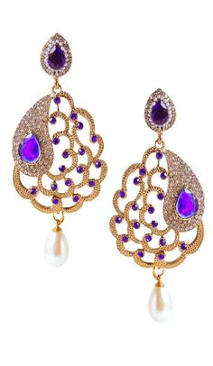 Sparky traditional blue stone with american diamonds diwali wear earrings. Gives you an alluring look in this earrings. Having material alloy metal and metal with studded stone and american diamonds. Purple Earrings, Sapphire Earrings, Stone Earrings, Women's Earrings, Purple Party, Looks Chic, Stone Work, Rings Online, Fashion Earrings