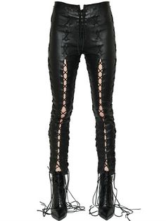 UNRAVEL, Skinny lace-up stretch leather pants, Black, Luisaviaroma - Front lace-up closure . Thigh to hem slits with lace-up closures. Long laces wrap around ankles . Cut for a skinny fit . Lace Up Leather Pants, Skinny Leather Pants, Leather Trousers, Skinny Pants, Skinny Legs, Real Leather, Grunge Style, Gothic Shirts, Wrap Pants