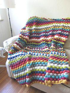 Striped Colorful Bobble Stitch Crochet Afghan by CrochetaLaMae