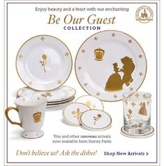 Beauty and the Beast dishes! Beauty And Beast Quotes, Beauty And The Beast, Disney Cars, Disney Stuff, Disney Wishes, Tale As Old As Time, Disney Home Decor, Touch Of Gold, Disney Inspired