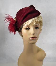 Vintage Asymmetrical 40s Hat Maroon Velour Tilt w/ Side Ostrich Feather by Gage Bros