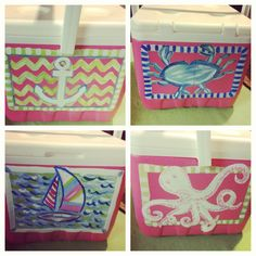 Painted cooler. Lilly inspired. Southern. Preppy. Cooler Painting, Diy Painting, Summer Fun, Summer Time, Spring Break, Bubba Keg, Fun Crafts, Arts And Crafts, Coolest Cooler