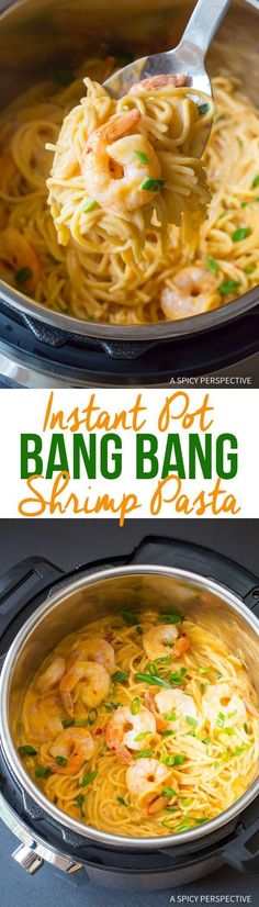 Easy Instant Pot Bang Bang Shrimp Pasta Recipe - A simple pressure cooker recipe made in 8 minutes! So comforting and packed with flavor. via @spicyperspectiv