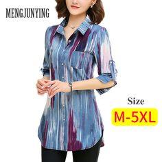 Check it out: Chiffon Blouses Women M-5XL Plus Size long sleeve Slim Blouse