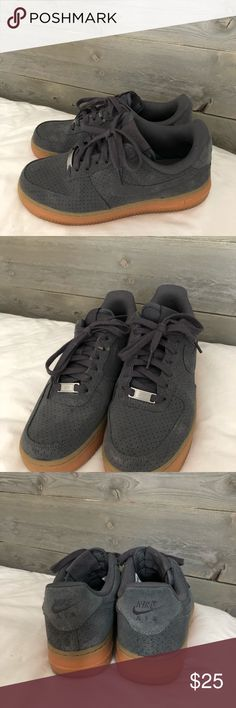 Nike Air Force Low Nike Women's Air Force 1 Low in grey suede Nike Shoes Sneakers