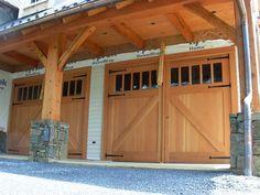 Reclaimed douglas fir doors with antique glass