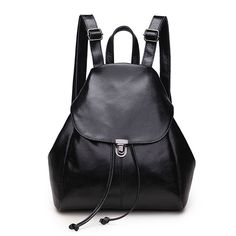 Women Leather Drawstring Backpack School Bag Travel Street Shoulder bag Handbag *** For more information, visit image link. Black Backpack, Leather Backpack, Leather Bag, Women's Backpack, Leather Drawstring Bags, Drawstring Backpack, Shoulder Handbags, Shoulder Bag, Piel Natural