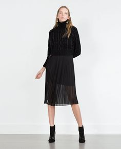 Image 1 of CROPPED CABLE KNIT SWEATER from Zara