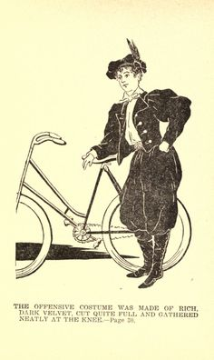 """""""The bicycling craze of the brought """"wheelwomen"""" dressed in bloomers into public view. It didn't take long for enterprising restaurant men to latch onto the sensational pants-like garment as a waitress uniform"""" Tweed Run, Bike Illustration, 1890s Fashion, Female Cyclist, Steampunk Costume, Cycling Outfit, Historical Clothing, Fashion History, New Woman"""