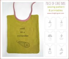 Piece of Cake bibs (free pattern and printables + double GIVE-AWAY) | StraightGrain