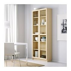 """IKEA - BILLY / OXBERG, Bookcase, white, 31 1/2x79 1/2x11 3/4 """", , Adjustable shelves can be arranged according to your needs.Adjustable hinges allow you to adjust the door horizontally and vertically.Glass-door cabinet keeps your favorite items free from dust but still visible."""
