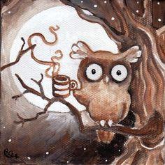 art by Elaine Cox = Coffee Owl