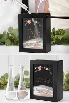Wedding Unity Ceremony Shadow Box - A wedding day keepsake to be treasured always, this black wedding unity sand ceremony shadow box is personalized with two custom lines or a monogram and wedding date accented by a beautiful floral design. Wedding Ceremony Ideas, Unique Wedding Favors, Wedding With Kids, Trendy Wedding, Free Wedding Stuff, Wedding Rituals, Wedding Planning, Unity Sand Wedding, Sand Unity Ceremony