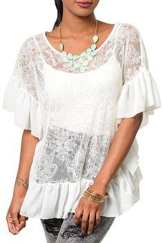 Ivory Sexy Sheer Chiffon Floral Lace Kimono Sleeve Top