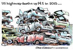 UP 14% | Aug/17/15 Dave Granlund - Politicalcartoons.com - Traffic deaths up 2015 -