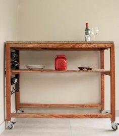 Muebles y accesorios en madera y hierro deco for Bar movil de madera