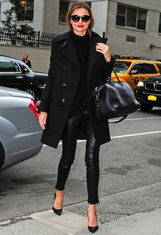 leather leggings, black trench coat, black pumps, red lipstick