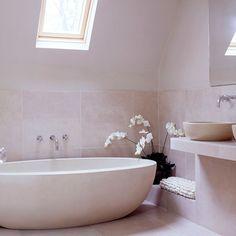 Modern stone attic bathroom   Hotel-style bathroom ideas   Bathroom   PHOTO GALLERY   25 Beautiful Homes   Housetohome.co.uk