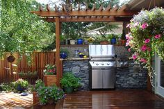 grilling station with pergola