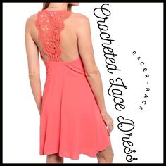 Crocheted Lace Racer-Back Dress Crocheted Lace Racer-Back Dress in a beautiful vibrant coral color- perfect for summer events. Boutique Dresses