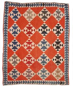 MY DAD showed the boys how to play this game in the snow. Fox and Geese c. 1890 with flying geese border. Cheddar setting squares with red, blue, black and tan blocks. Old Quilts, Amish Quilts, Antique Quilts, Scrappy Quilts, Vintage Quilts, Quilting Projects, Quilting Designs, Triangles, Flying Geese Quilt