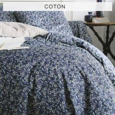 Housse de couette motif fleuri denim en pur coton FLORI - Denim