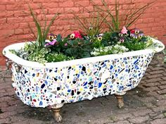 More Planting Ideas | Potted Plant Society. Old bath side as a planter and mosaic on the outside..would love to make something like this