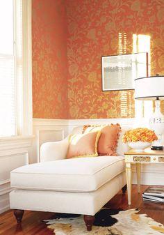 Bandonese wallpaper in metallic gold on orange