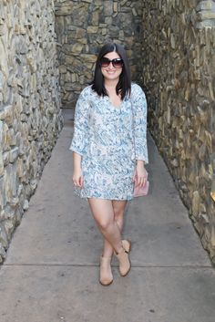 Lush bell sleeve dress with booties for spring outfit