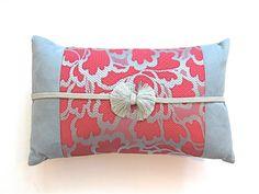 Vintage Silk Kimono Obi Pillow  Fuchsia & Blue by KimonoArtStudio, $157.00