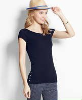 Side-Button Tee - Glossy side button detail adds instant polish to this cotton covetable. Boatneck. Cap sleeves. Buttons at side hems.