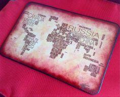 World Map Mousepad / iPad Mini Leather Pad by HarrismaLeatherGoods, $38.49