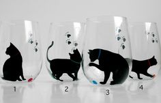 Cat and Yarn Stemless Wine GlassesSet of 2 by MaryElizabethArts, $40.00