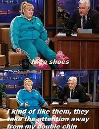 Rebel Wilson, nice shoes and double chin