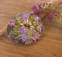 Garden Rock, Beach Stone, Garden Decor, Paperweight, Painted Rock, Floral, Garden Art. $14.00, via Etsy.