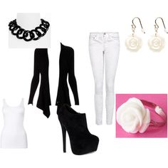 Black & White by sara-winchester on Polyvore featuring Lipsy, MANGO, Steve Madden, Tory Burch and A.V. Max