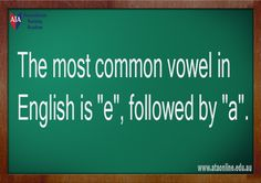 TESOL ESL [ English Facts ] most common vowel