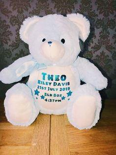 ~ Adorable keepsake toys to be loved and cherished ~ Measures approx Personalized Pajamas, Personalised Teddy Bears, Personalized Birthday Gifts, Baby Birth, 1st Birthdays, New Baby Gifts, Christmas Birthday, Announcement, New Baby Products