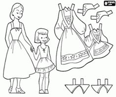A Norwegian girl with her mother to wear traditional costumes coloring page