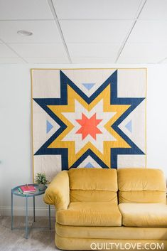 Expanding Stars Quilt Pattern by Emily of Quilty Love This fun and modern quilt pattern plays with the popular star shape.  This large scale quilt goes together quickly with half square triangles.  No tricky piecing makes this one great for a beginner.   Choose your favorite fabrics and show them off with this stunner.