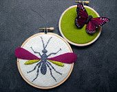 hand embroidered wasp & butterfly hoop art