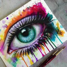 Malerei Acryl Porträt Kunstwerke Super Ideen - Houses: drawings and paintings thereof - Cool Art Drawings, Pencil Art Drawings, Art Drawings Sketches, Colorful Drawings, Watercolor Eyes, Watercolor Paintings, Paintings Of Eyes, Cool Paintings, Art Du Croquis