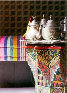 Vintage Moroccan pots for mint tea~love, love this
