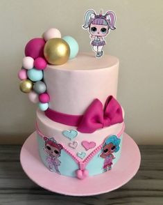 Doll Birthday Cake, Funny Birthday Cakes, Lol Doll Cake, Owl Cakes, Girly Cakes, Surprise Cake, Character Cakes, Pretty Cakes, Yummy Cakes
