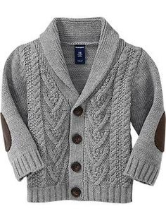 """A baby """"old man sweater"""" with elbow patches???? Yes, please."""
